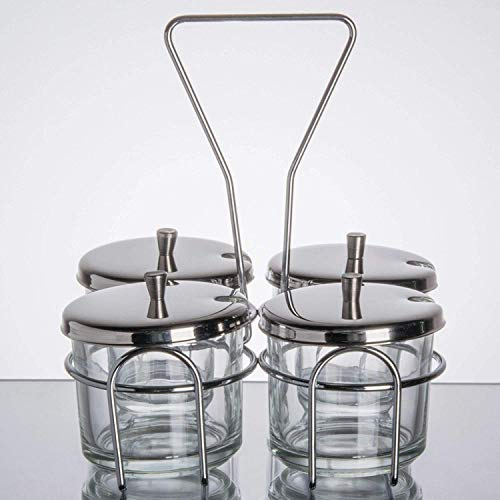 4 Compartment Wire Condiment Caddy with 7 oz. Glass Jars and Stainless Steel ()