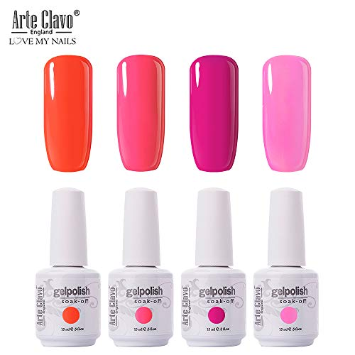 Arte Clavo 15ml Varnish Soak Off UV Led Nail Gel Polish Nail Art Salon Set 16 of 4 Colors