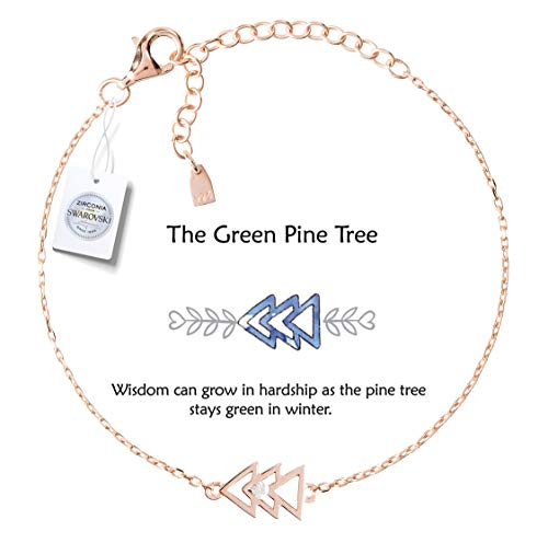 Vivid&Keith Womens Girls 925 Real Sterling Silver 18K Plated Swarovski Zirconia Cute Adjustable Gift Fashion Jewelry Link Chain Charm Pendant Bangle Bracelet, The Green Pine Tree, Rose Gold Plated
