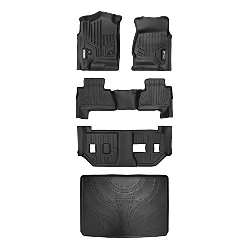 SMARTLINER Floor Mats 3 Rows and Cargo Liner Behind 3rd Row Set Black for 2015-2018 Suburban / Yukon XL (with 2nd Row Bench Seat) (Suburban 2nd Seat)
