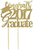 All About Details Gold Congrats 2017 Graduate Cake Topper