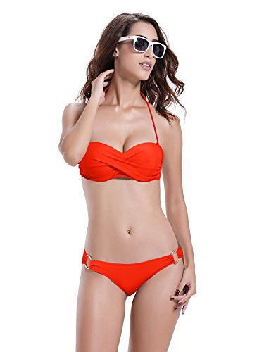 Reteron Women's Bandeau Twist Bikini Swimsuits Set (M(us4-6), Coral Blaze)