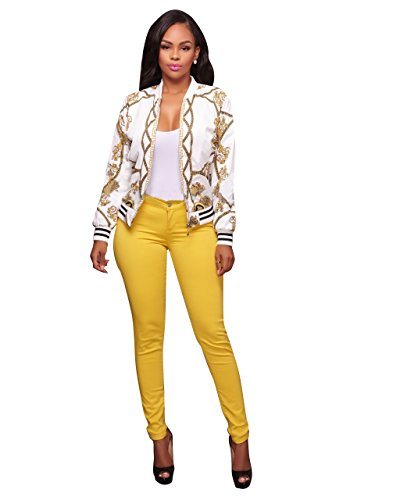 Women's Vintage Gold Chain Print Bomber Jacket With Long Sleeve Banded Collar White S