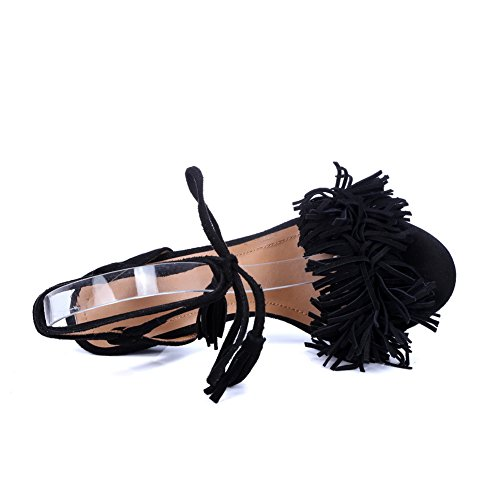 1TO9 Fringed MJS03089 Baguette Womens Urethane Ankle Wrap Style Black Sandals BqrBtwp