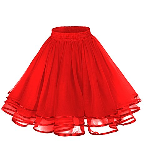 [LaceLady Women's Vintage Petticoat Tutu Underskirt Crinoline Dance Slip with Belt Red XL] (Tutu Halloween Costumes For Teenage Girls)