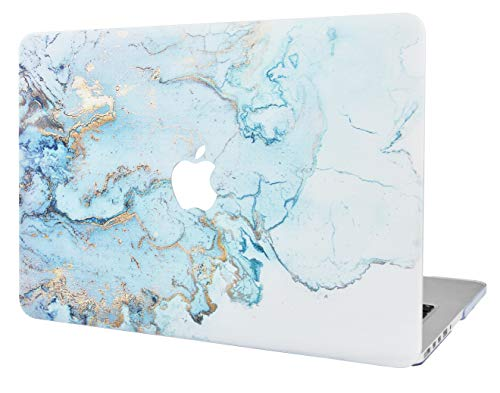 """KECC Laptop Case for Old MacBook Pro 13"""" Retina (-2015) Plastic Hard Shell Cover A1502 / A1425 (Blue Gold Marble)"""