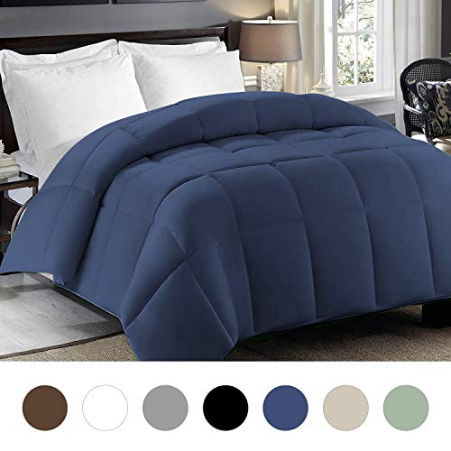 CHISTAR Alternative Quilted Down Comforter - All Season Microfiber Lightweight Hypoallergenic - Plush Microfiber Fill - Machine Washable - Duvet Insert or Stand-Alone Duvet (King/Cal King, Navy Blue)