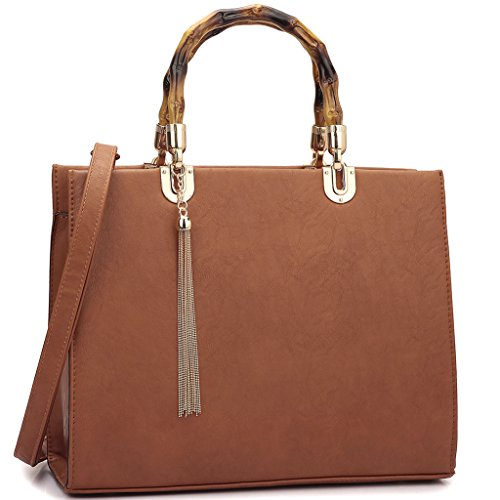 Dasein Structured Wooden Handle Handbags Designer Shoulder Bag Tote Satchel Laptop Bag