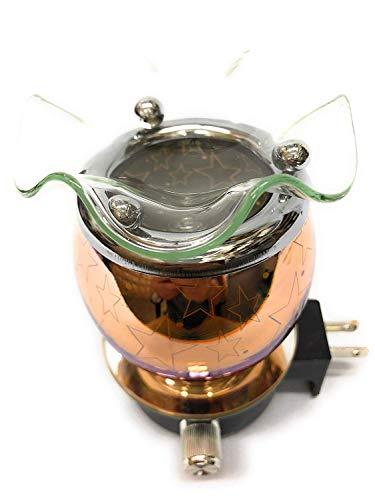 L&V Electric Glass Plug in Night Light Wax Burner Oil Warmer 3 D Effect Stars Design