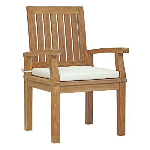 Modway Marina Teak Wood Outdoor Patio Dining Armchair in Natural White