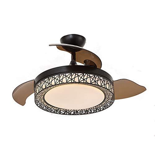 - ZAQ Ceiling Fan with Light, LED Pendant Lamp with Remote Control, Ceiling Fan Light with Invisible Blade for Living Room Dining Room, Black