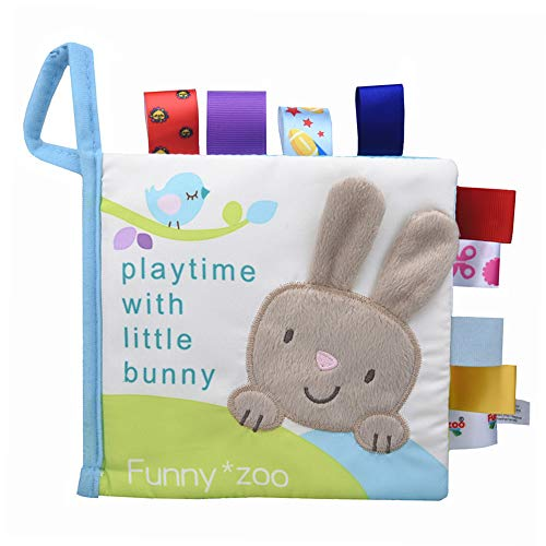Hosim Baby's Soft Cloth Books Toys - My First Soft Book Children Interactive Activity Fabric Cloth Book, The Best Early Learning Development Toy for Babies (Play with Little Bunny)