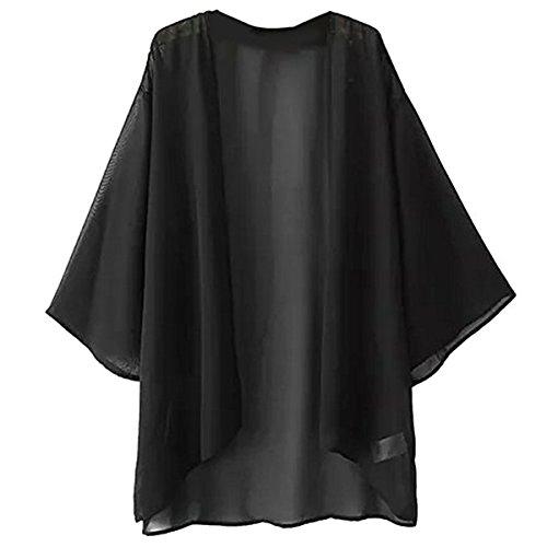 Solid Black Cape (Hsumonre Women's Solid Loose Chiffon Sheer Shawl Cardigan Kimono Cover Up Capes Black)