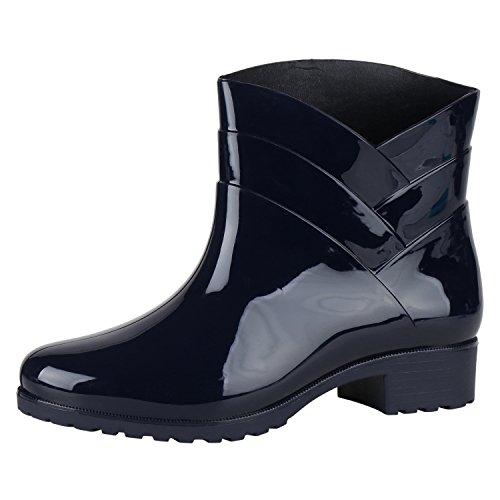 napoli-fashion Damen Lack Stiefeletten Gummistiefel Chelsea Boots Schuhe Gr. 36-41 Jennika Dunkelblau Marine