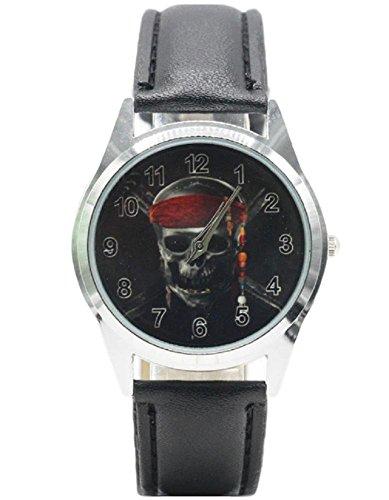 (Pirates of Caribbean Skeleton Genuine Leather Band WRIST WATCH )