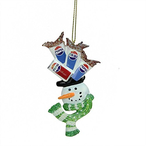 red Snowman Head Balancing Pepsi Christmas Ornament ()