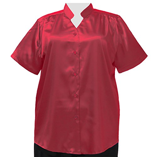 A Personal Touch Women's Plus Size Red Crepe Back Satin Mandarin Collar V-Neck Blouse - 4X