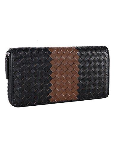 Banuce Men's Genuine Leather Zip Around Weaved Wallet (Black)