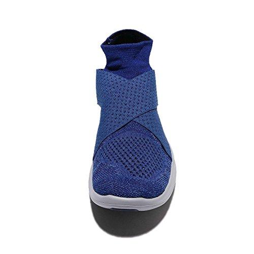 Nike Heren Free Run Flyknit Loopschoenen Binair Blauw / Zwart-obsidiaan
