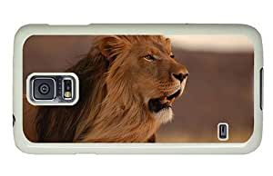 Hipster Samsung Galaxy S5 Case mate cover male lion hd PC White for Samsung S5