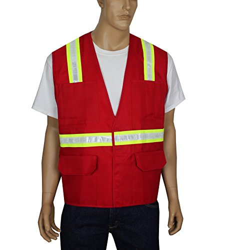 Illuminated Safety Vest - Safety Depot Safety Vest 6 Pockets with Pen Dividers Hook & Loop Closure Hi Vis Light Weight V6038-RD (Red, Extra Large)