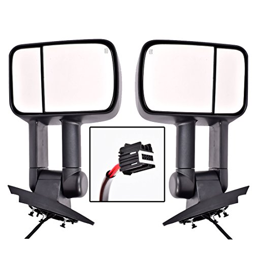 DEDC Towing Mirrors Chevy Silverado GMC Towing Mirrors Chevy Side Mirrors Pair Power Heated With Turn Signal Light Manual Folding Extending For 2007-2014 Chevy Silverado GMC Sierra Only ()