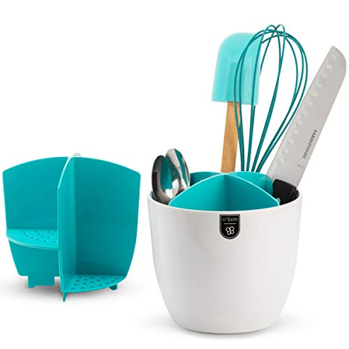 Crippa Kitchen Utensil Holder and Drainer | Sizeable Utensil Cutlery Flatware Caddy | Cutlery Drainer with 4-Compartment Removable Divider | Rust-Free Plastic Utensil Organizer | White & Turquoise