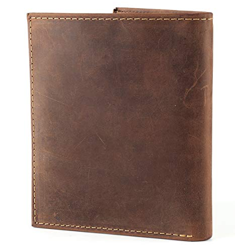 RFID Blocking Mens Leather Bi-Fold Big Hipster Wallet, 13 credit card slots,Distressed vintage Brown