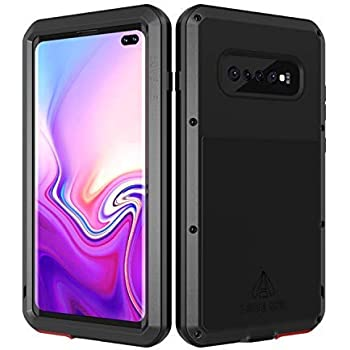 LOVE MEI Samsung Galaxy S10 Plus Case with Built-in Glass Screen Protector,Full-Body Wireless Charging Sturdy Cover Shockproof Dustproof Metal ...