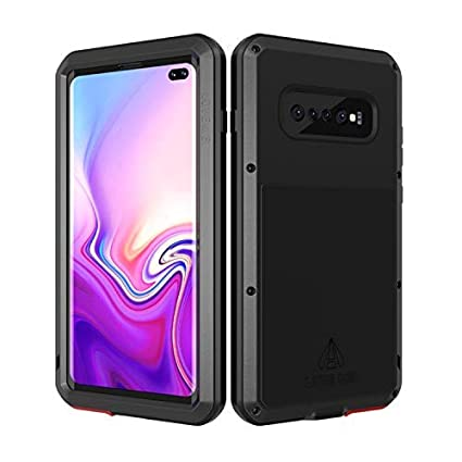 LOVE MEI Samsung Galaxy S10 Plus Case with Built in Glass Screen Protector Full Body Wireless Charging Sturdy Hard Cover Shockproof Dustproof Metal ...