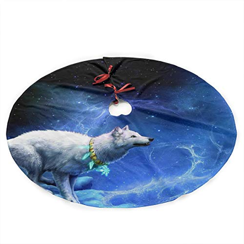 35 Inch Christmas Tree Skirt Wolf Printed Tree Skirt Christmas Holiday Party Ornaments