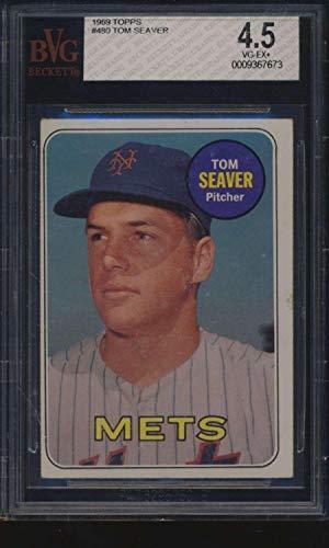 - #480 Tom Seaver HOF - 1969 Topps Baseball Cards Graded BVG 4.5 - Baseball Slabbed Autographed Vintage Cards