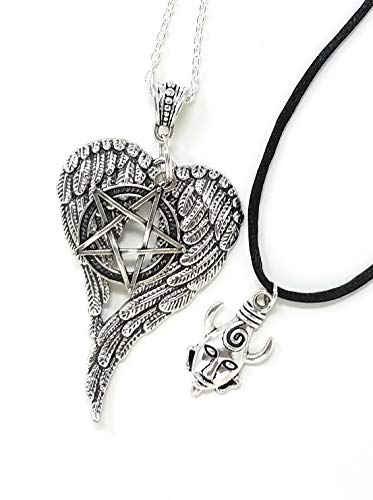 Supernatural Inspired 2 Necklace Set. Dean's Amulet on a Satin Cord Necklace and Castiel Wings and Devil's Trap Anti-Possession Symbol Pendants on a Silver Plated Chain