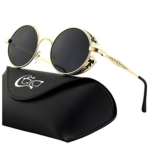 CGID E71 Retro Steampunk Style Inspired Round Metal Circle Polarized Sunglasses for - Steampunk Sunglasses Style