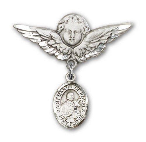 Icecarats Créatrice De Bijoux En Argent Sterling St. Martín De Porres Charme Ange Broche De Badge 1 1/8 X 1 1/8