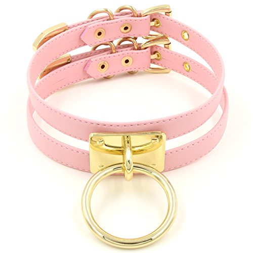 Double O-rings (Handmade Double Leather Straps O Ring Choker Collar (Pink))