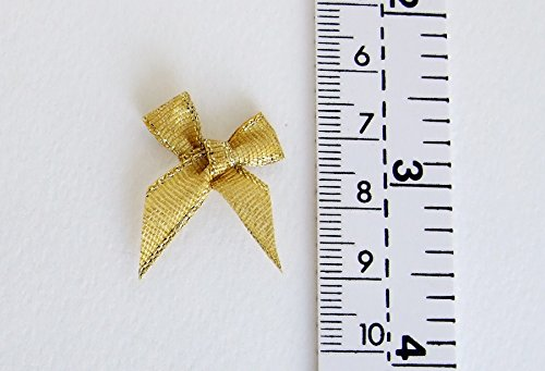 Tiny Embellishment Craft Artificial Applique Wedding 100 Assorted Smallest Gold /& Silver Ribbon Bows Size 20 mm