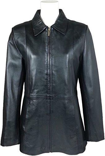 UNICORN Femmes Classique Milieu Longueur Manteau - Réel cuir veste - Noir Nappa #HI
