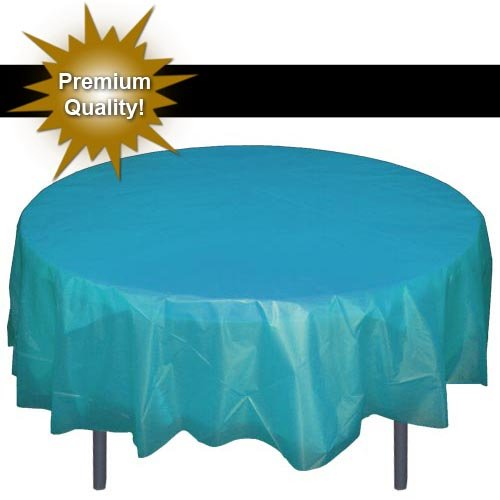 Premium Round Turquoise table cover 84' ROUND 84' Round Plastic Tablecloths