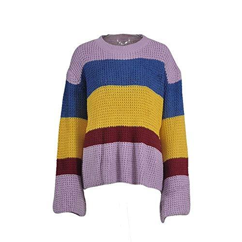 Suéteres Mujer Xl Knit Arco Suéter Strip Más Tamaño Invierno Para Casual Loose Jumper El Pullover Del Manga Drhgksp Angosta Iris De L a60q1wap