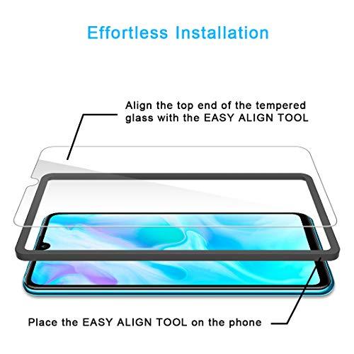 TAURI [4 Pièces Verre Trempé pour Huawei P30 Lite, [Installation Facile Cadre d\'Alignement] [9H Dureté][sans Bulles][Anti Rayures] Film Transparent Film de Protection d\'écran