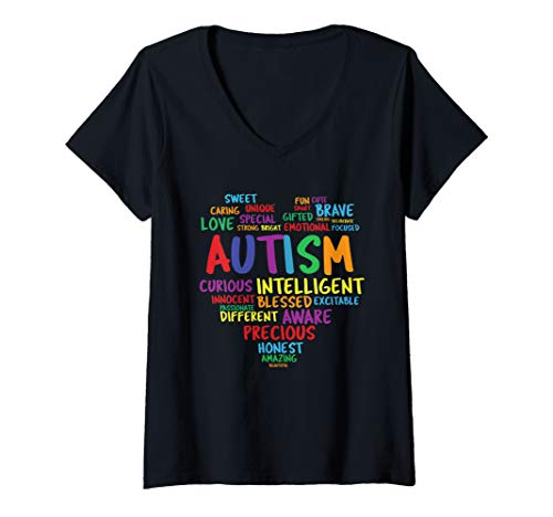 Womens Autism Awareness Day Rainbow Heart V-Neck T-Shirt