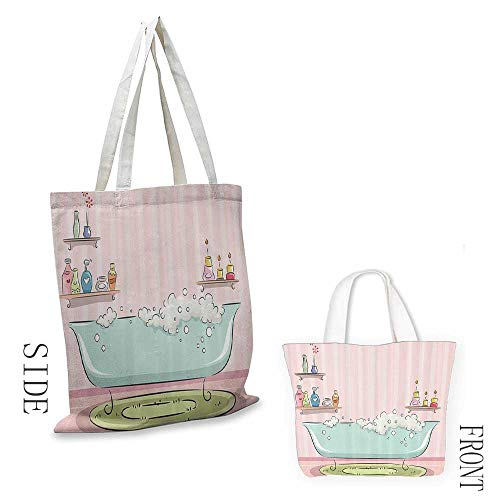 Ladies casual canvas bag teens girls women decor Collection Illustration of Bathtub with Bubbles in Girly Room Aroma Oil Lamps Aromatherapy Cosmetic bag 16.5
