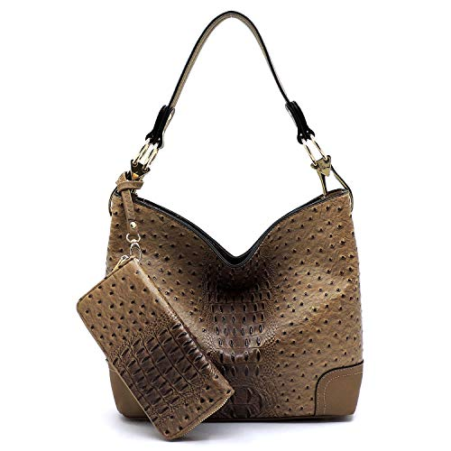 2 PC Set Ostrich Croco Embossed Vegan Faux Leather Hobo Shoulder Bag Classic Bucket Purse with Matching Wallet (TAUPE)