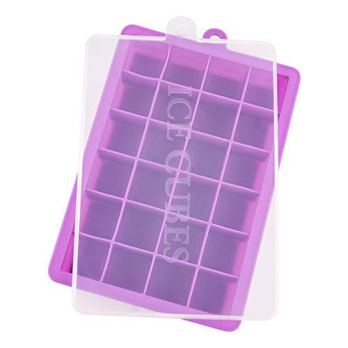 Ice Cube Trays, Silicone Ice Tray Molds Easy Release Ice Jelly Pudding Maker Mold, 24 Cavity (Purple)