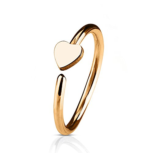 - Inspiration Dezigns 20G Heart Bendable Hoop Ring for Nose/Ear Cartilage (Sold Individually) (Rose Gold)