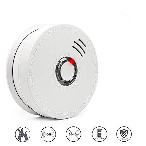 Smoke Alarms, Photoelectric Smoke Detector and Fire Alarm with Light Sound Warning 9V Battery (Included) Powered Fire Safety for Home Hotel School etc Passed UL ()