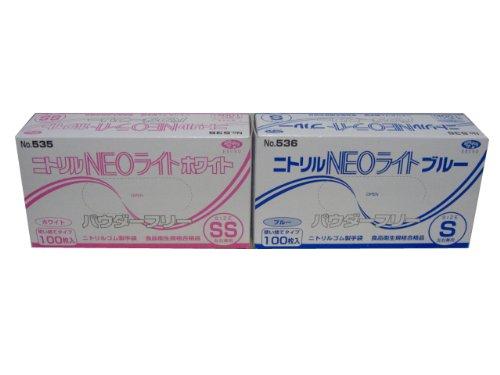 エブノ ニトリルNEOライト(薄手タイプ)No.536 粉無 青L 100枚X30箱 3000枚 B008XGZG5C