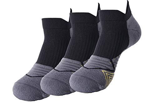 ANYOUQI 3 Pairs Sport Men's & Women's Breathable Low Cut Ankle Socks Non-Slid Moisture-wicking No Show Socks (Black&Gray, L (16.1''-17''))