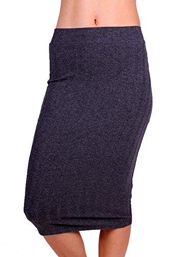 Women H. Charcoal[Style#15028] High Waist Ribbed Knit Straight Pencil Stretch Midi Skirt, Medium Size